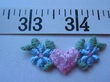 """7121 APPLIQUES Embroidered Flowers Heart Pink Blue 2"""" W  24 Pcs UNIQUE"""