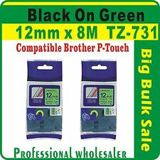 12mm x 8m Brother Black on Green Compatible TZ-731 P-Touch Laminated Label Tape