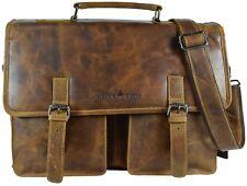 Greenwood Vintage Businesstasche Damen Aktentasche Leder Laptoptasche Herren XL