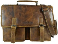 Greenwood® Vintage Echt Leder Businesstasche Aktentasche Camel 191043