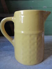 Old Vintage Medalta Art Pottery Yellow Basketweave Pitcher Medicine Hat Alberta