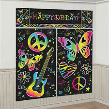 NEON PEACE SIGNS Scene Setter HAPPY BIRTHDAY party wall decoration guitar BFF