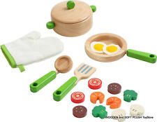 *NEW wooden COOKWARE COOKING UTENSILS POT PAN w/ EGG PLAY FOOD KITCHEN STOVE TOY