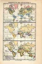 Antique map mammals globe world zoogdieren aarde 1907