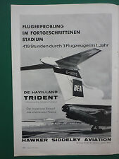 4/1963 PUB HAWKER SIDDELEY TRIDENT AIRLINER BEA AIRLINES ORIGINAL GERMAN AD