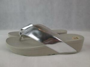 FITFLOP LULU SILVER MIRROR SWOOP TOE THONG WEDGE SLIDES SANDALS SZ: 11 NWT