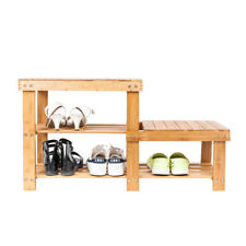 2-Tier Shoe Bench Boot High and Low Level Storage Organizing Rack Entryway Shelf