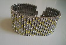 Men's silver finish hip hop 12 row yellow/clear bling raper style bracelet