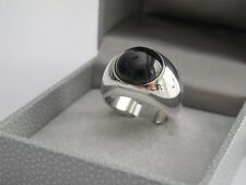 LALIQUE CABOCHON BLACK CRYSTAL 925 STERLING SILVER RING Sz US 6.5 (54)