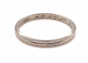 Vintage Wedding Ring Eternity Band 18K White Gold Antique Art Deco 1926