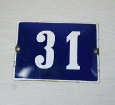 Vintage Dark Blue Enamel House Number 31 Street Metal Address Plaque 1950 Retro