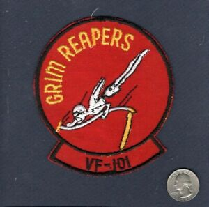 """Early Vintage VF-101 GRIM REAPERS NAVY F-4 PHANTOM 4.5"""" Fighter Squadron Patch"""