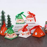 KE_ 6Pcs Lovely Christmas Triangular Pyramid Candy Box Gift Birthday Party Fav
