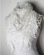 Bufandas y pañuelos de mujer blancos de encaje
