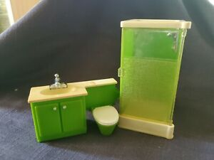 vintage fisher price doll house green shower and bathroom sink & toilet