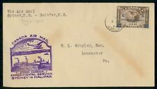 Canada First Flight 1935 Cover Sydney Ns Experimental Service To Halifax