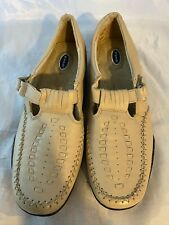 NEW DR. SCHOLL'S Double Air Pillo Beige Leather T-Strap Loafer, Size 7 M