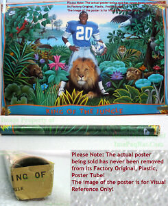 NITF ☆ OLD STOCK w/ Label ☆ NIKE Poster ☆ KING OF THE JUNGLE Barry Sanders Lions