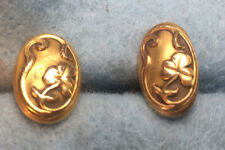 Antique Art Deco 14Kt Yellow Gold Cuff Links Shamrock Flowers Embossed