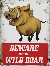 Beware of the Wild Boar sign 15x20cm metal wild bore warning wall plaque