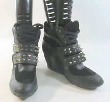 "Black/Silver Spike 3"" High Wedge Heel Ankle BootsFront Strap Size 8"