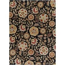 Surya Athena Ath-5017 Transitional Hand Tufted 100 Wool Black Olive 8' X 11' Floral Area Rug