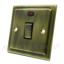Victorian Antique Brass 20 Amp DP Switch - 20A Double Pole Swi w/ Neon Indicator