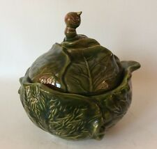 Vintage Cabbage Tureen Covered Bowl With Cute Worm On Lid Holland Mold
