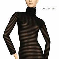 Cotton Polo Neck Long Sleeve Striped Dresses for Women