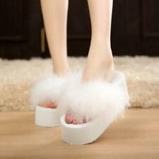 Flip Flops Platform Wedge Heel Flatform Fluffy Ladies Sandal Summer White US 6.5