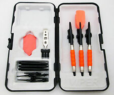Neon Orange Slim Rubberized Sure Grip Soft Tip Dart Set + Case 18 gram - 1