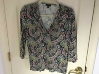 Woman's Talbots size medium multicolored paisley print runched v neck top