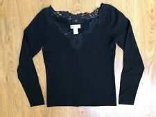 BROOKS BROTHERS WOMEN CASHMERE SWEATER!SIZE S WITH LACE! WARM CLASSY SEXY!