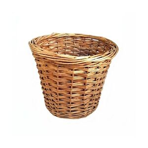 Vintage Large Handmade Rattan Wicker Planter Woven Waste Paper Basket Bin