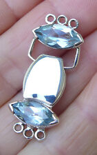 Magnetic Clasp Secure Three strand Two Faceted Blue Topaz Marquise cut Gemstones