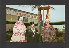 POSTCARD: 3 CLOWNS: BOB-O, VICTOR, COCO - CIRCUS HALL OF FAME, SARASOTA, FLORIDA