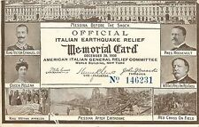 Official Italian Earthquake Relief Memorial Card Roosevelt Taft Victor Emanuel