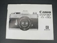Canon TX Camera Instruction Book / Manual / User Guide