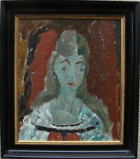 Hugo Linér 1900 - 1981, Mädchenportrait vor rotem Grund, um 1950