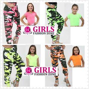 Girls Plain Short Sleeves Vibrant Neon Top & Camouflage Baggy Harem Trouser Sets