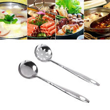 Stainless Steel Large Soup Spoon Ladle Skimmer Colander Filter Kitchen Tool 2Pcs