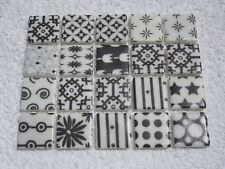"""White with Black patterns Tiles 20 x pcs for MOSAIC  Approx """"2.4cm x 2.4cm"""""""