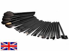 Prof 32 Pcs Make Up Brush Set and Cosmetic Brushes in Faux Leather Case Black