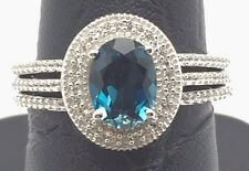 Sterling Silver 925 Oval London Blue Topaz CZ Halo Triple Band Cocktail Ring