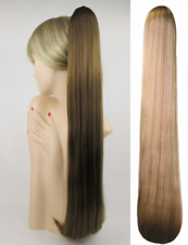 """25"""" EXTRA LONG STRAIGHT HAIR PONYTAIL HAIRPIECE CLAW CLIP DRAWSTRING BEND ENDS"""