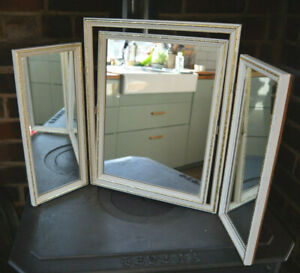 Vintage Triple Dressing Table Mirror French Style Free Standing 50s 60s 70s gold