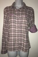 THE NORTH FACE Womens Purple Plaid Roll Sleeves Layered Shirt Sz SMALL