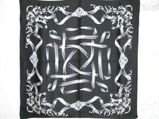 New Charmeuse Silk Scarf Black White Ribbon Europe Art