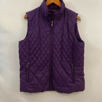 Coldwater Creek Womens Purple Zipper Quilted Down Vest Puffer Jacket Size Large