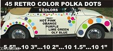 45 POLKA DOT CAR  VINYL DECALS RETRO COLORS  LAST FOR YEARpatternsrus